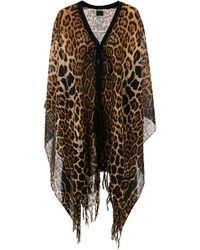 Saint Laurent Fringed Leopard Print Poncho - Black