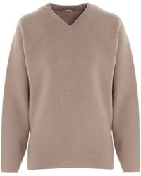 Stella McCartney Oversized V-neck Jumper - Brown