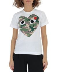 COMME DES GARÇONS PLAY Comme Des Garçons Play Camouflage Heart T-shirt - White