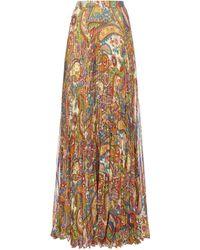 Etro Oakland Print Pleated Maxi Skirt - Multicolour