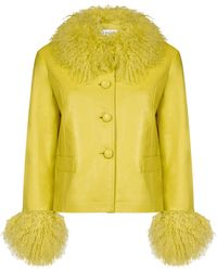 Saks Potts Shearling-trimmed Leather Jacket - Yellow