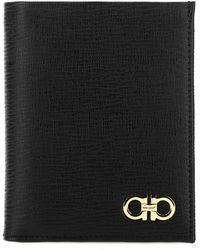 Ferragamo Black Leather Gancini Wallet Nd Uomo