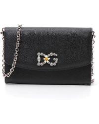 Dolce & Gabbana - Chain Strap Embellished Crossbody Bag - Lyst