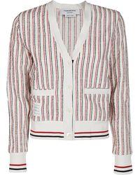 Thom Browne Rwb Stripe Tweed V-neck Cardigan - Multicolour