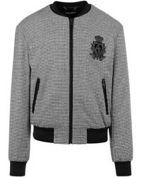 Dolce & Gabbana Houndstooth Bomber Jacket - Black