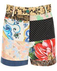 Dolce & Gabbana Jacquard Patchwork Shorts - Blue