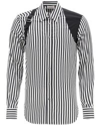 Alexander McQueen Striped Shirt With Harness - Black