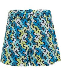 MICHAEL Michael Kors Belted Floral Print Shorts - Blue