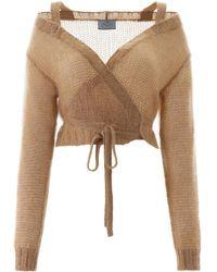 Prada Crochet Wrap Cardigan - Brown