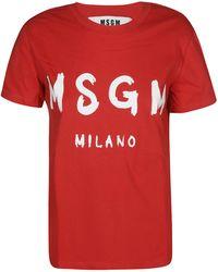 MSGM Logo Printed T-shirt - Red