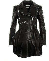 Alexander McQueen Asymmetric Biker Jacket - Black