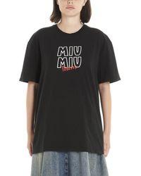Miu Miu Noir Print T-shirt - Black