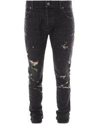 Balmain Distressed Slim-fit Jeans - Black