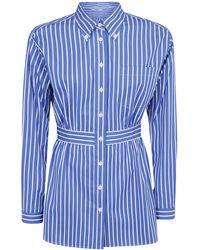 Prada Asymmetric Hem Striped Shirt - Blue