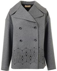 Alaïa Double Breasted Openwork Jacket - Grey