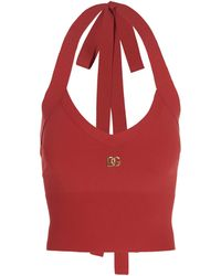 Dolce & Gabbana Logo Plaque V-neck Cropped Top - Red