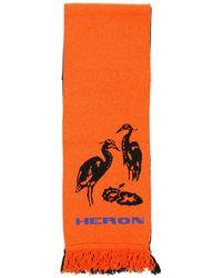 Heron Preston Fringed Logo Scarf - Orange