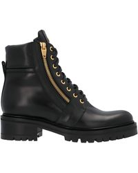 Balmain Zip Detail Combat Boots - Black