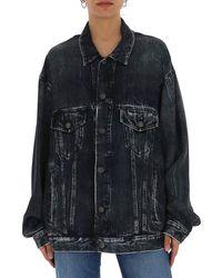Balenciaga Oversized Acid Wash Denim Jacket - Black