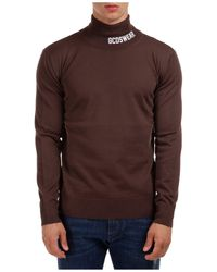 Gcds Men's Polo Neck Turtleneck Sweater Sweater Full Logo - Brown