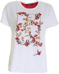 Max Mara Studio Baviera Floral Print T-shirt - White