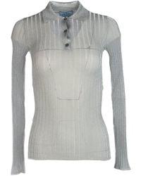 Prada Lurex Long-sleeve Polo Shirt - Metallic