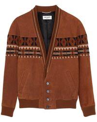 Saint Laurent Knit-inset Leather Jacket - Brown