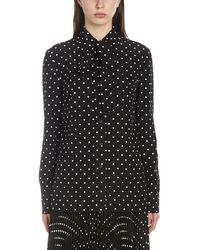 Prada Tie-neck Patterned Blouse - Black