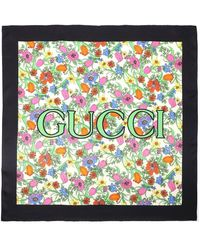 Gucci Floral Print Silk Scarf - Multicolour