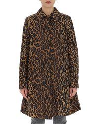 Miu Miu Leopard Print Coat - Brown