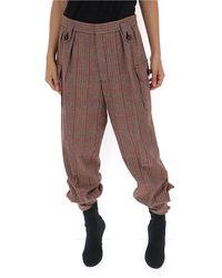 Miu Miu Tapered Check Pants - Brown