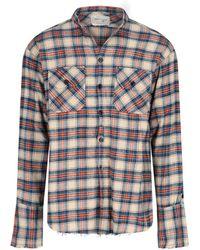 Greg Lauren Distressed Hem Checked Shirt - Multicolour