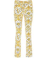 Versace Baroque Print Slim Leg Pants - Yellow