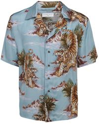 ih nom uh nit Tiger Printed Short Sleeve Shirt - Blue