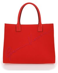 Versace Cabas Gv Signature Tote Bag - Red
