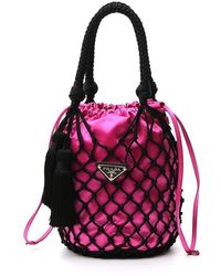 Prada Satin And Passamaneria Mesh Bucket Bag - Multicolor