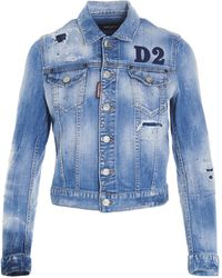 DSquared² Logo Patch Denim Jacket - Blue