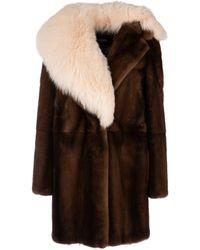 Fendi Asymmetric Fur Coat - Brown