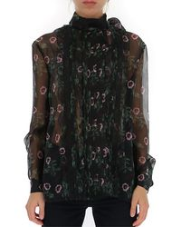 Valentino Sheer Floral Print Pussybow Blouse - Black