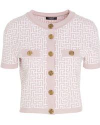Balmain Monogram Knit Cardigan - Pink