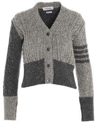 Thom Browne Fun Mix Knit Cardigan - Grey