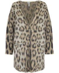 Loewe - Leopard Mohair Cardigan - Lyst