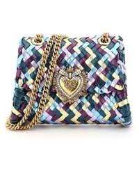 Dolce & Gabbana Devotion Chevron Woven Multicolor Bag - Blue