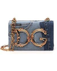 Dolce & Gabbana Dg Girls Patchwork Denim Shoulder Bag - Blue
