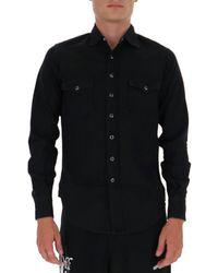 Saint Laurent Buttoned Denim Shirt - Black
