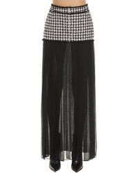 Balmain Sheer Pleated Trim Houndstooth Skirt - Black