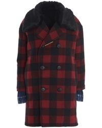 DSquared² Double-breasted Plaid Coat - Red