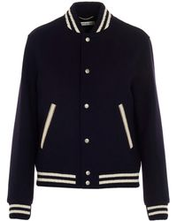 Saint Laurent Teddy Varsity Jacket - Blue
