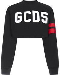 Gcds Logo Cotton Crop Sweatshirt - Black