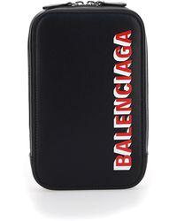 Balenciaga Logo Print Leather Cash And Phone Holder - Black